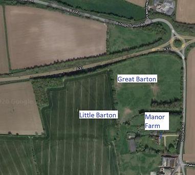 Bishop's Sutton,  Great and Little Barton Fields,  satellite image