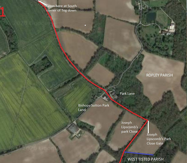 Perambulation of the Bishop's Sutton Parish Boundary 1745 section 5a -1
