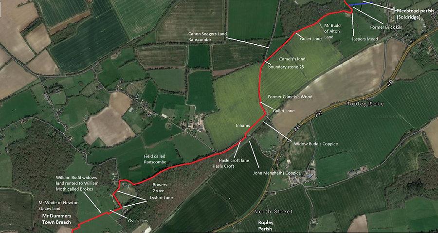 Perambulation of the Bishop's Sutton Parish Boundary 1745 section 5b