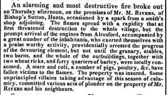 Fire at Bishops Sutton August 1822