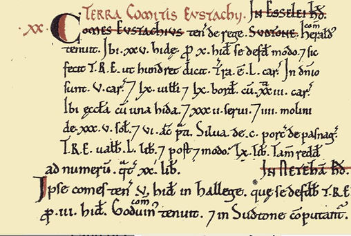 Bishop's Sutton, Domesday Book 1086 Entry for Sutton