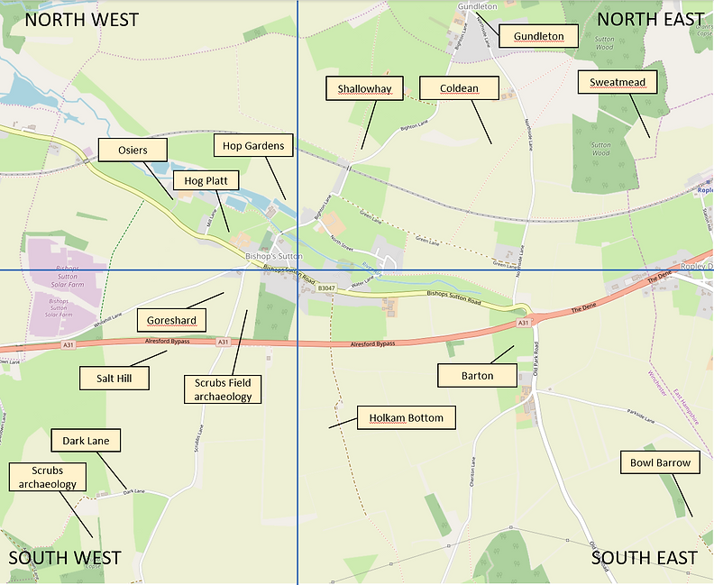 Bishop's Sutton, around the village map