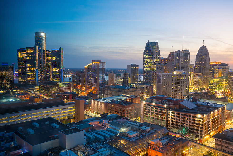 Aerial view of downtown Detroit at twili