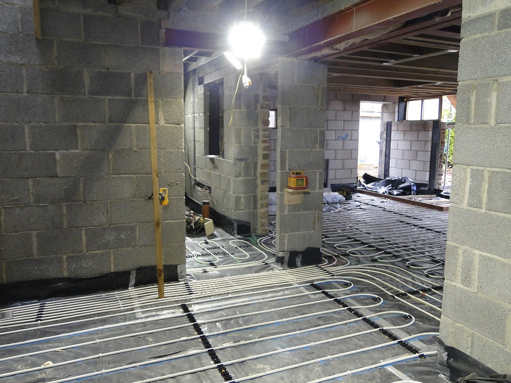 Underfloor heating installation powered by air source heat pump.