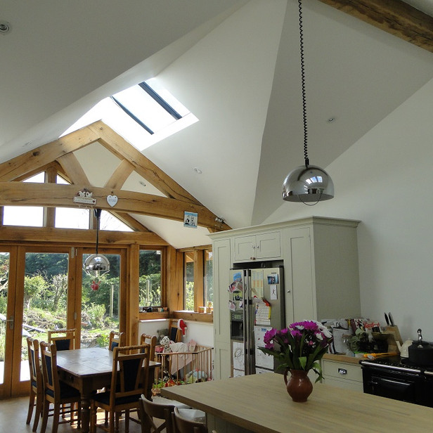 Oak frame Kitchen and Dining extension in Cornwall