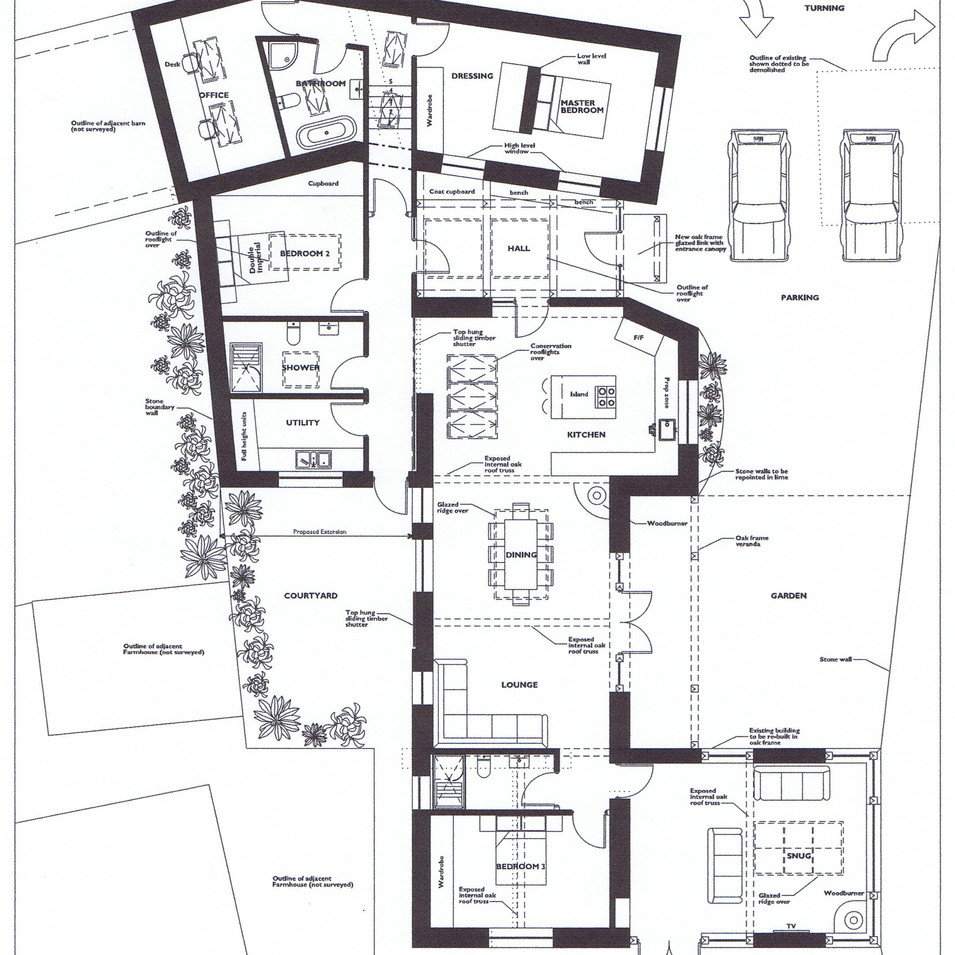 Proposed floor plans for Cornish barn conversion
