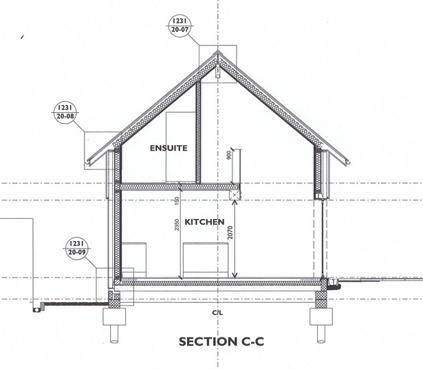 Proposed section for new eco house in Porthtowan, Cornwall.