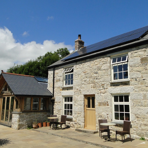 Oak frame extension to Cornish cottage