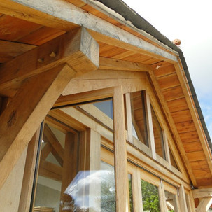 Oak frame roof detail in Cornwall