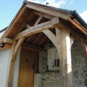 Oak frame porch in Cornwall