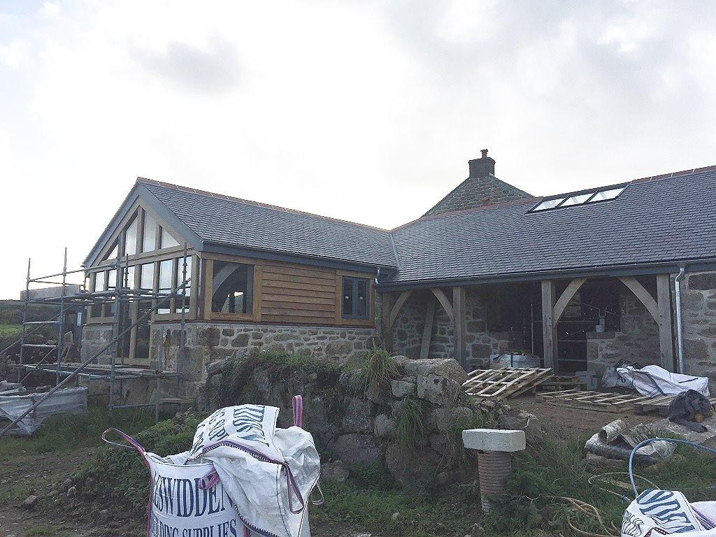 Oak and granite Cornish barn conversion near Penzance (photo courtesy of Oak Frame Cornwall).