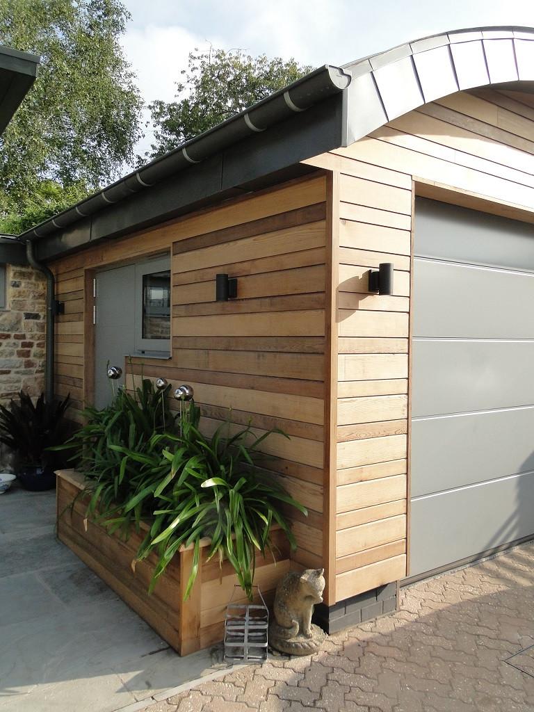 Complete barrel vaulted garage with zinc roof.