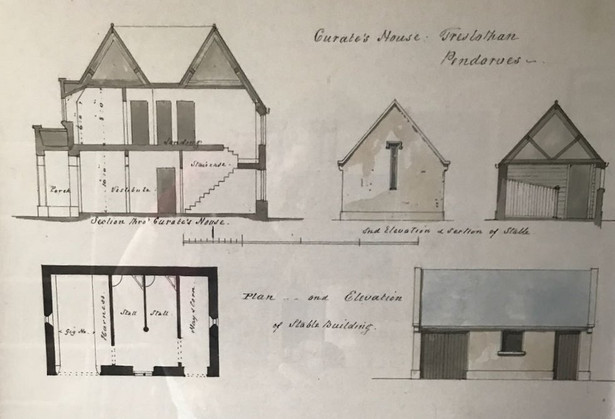 Original drawings of house and stable.