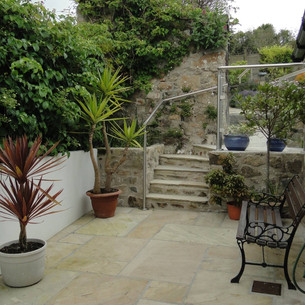 Completed patio to Grade II Listed home in St Ives, Cornwall.