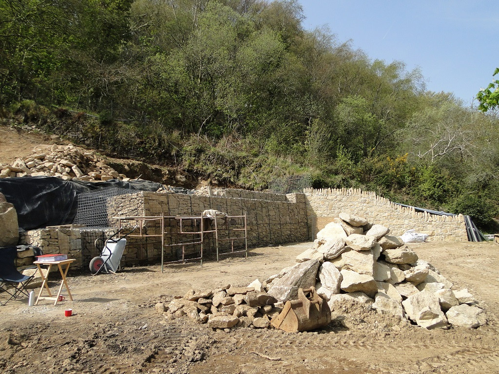 Retaining wall construction before construction begins for new house in Ponsanooth, Cornwall.