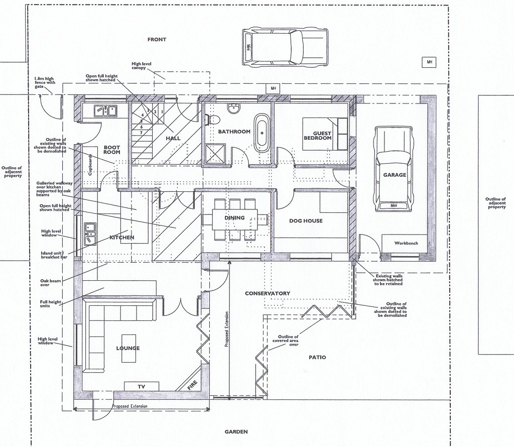 Ground floor plans for new eco house in Porthtowan, Cornwall.