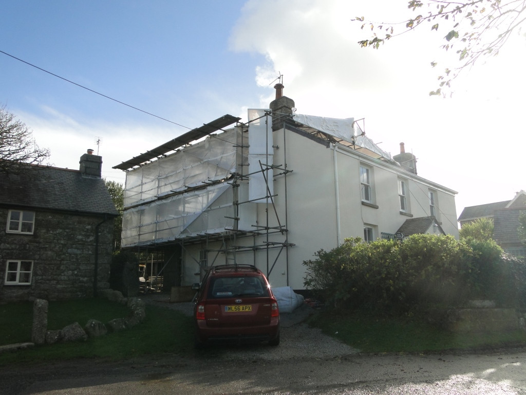 Rear extension construction works to Cornish cottage in St Ives.