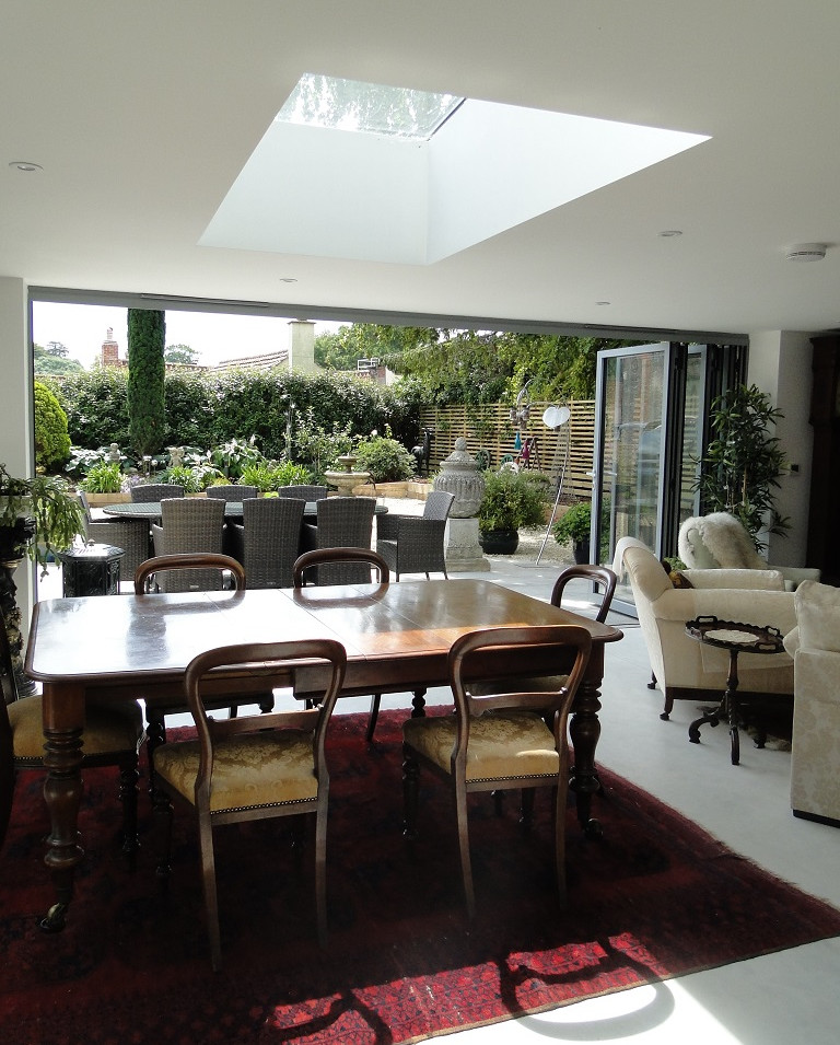 Open plan living and dining with direct access to the garden.