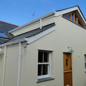 Completed rear extension to Cornish cottage in St Ives, Cornwall.