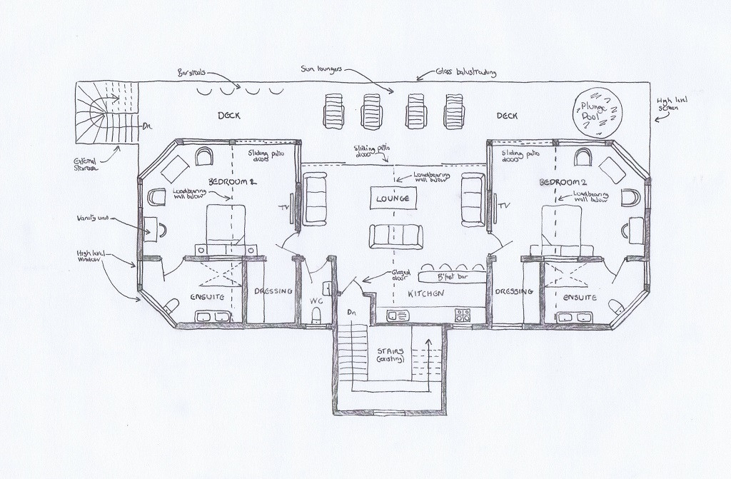 Proposed floor plans for penthouse suite.