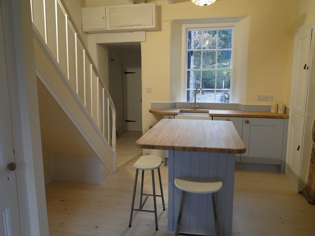 New Kitchen within Grade II Listed house in St Ives, Cornwall.