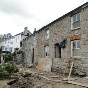 Re-pointing in lime of  cottage walls in Ponsanooth, Cornwall.