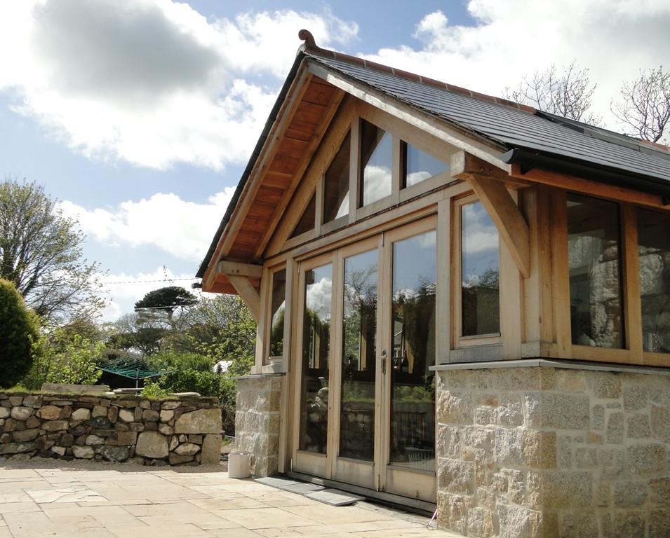 Oak frame extension in Cornwall