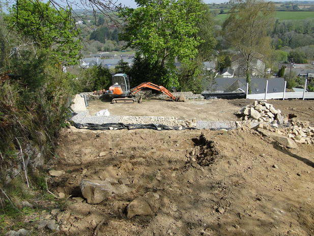 Site clearance before construction begins for new house in Ponsanooth, Cornwall.