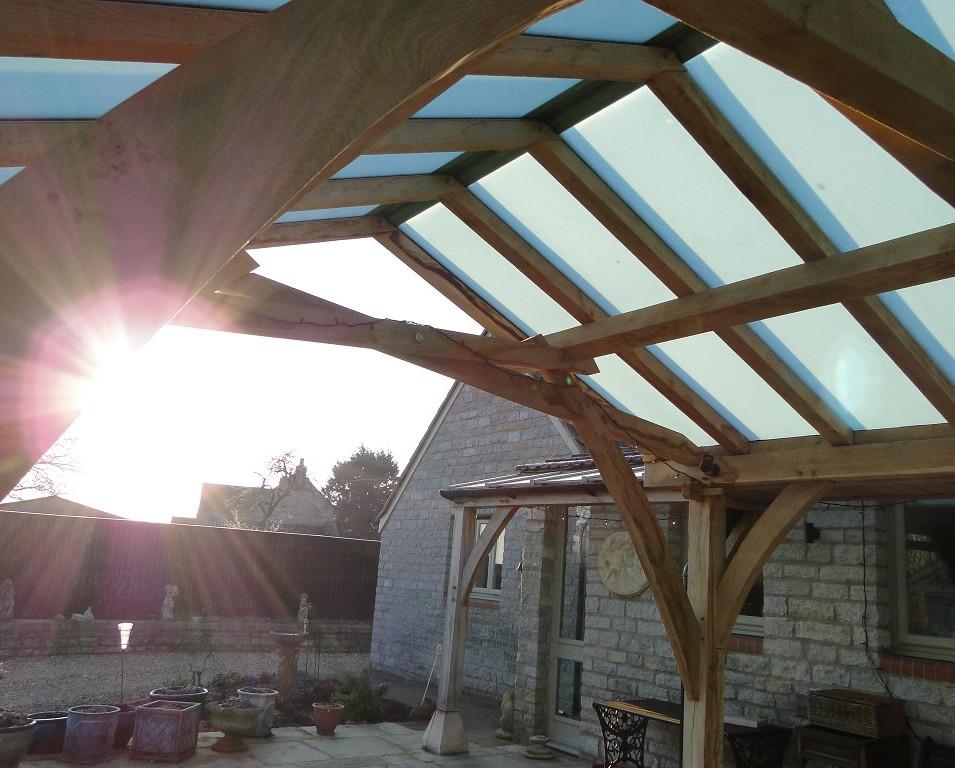 Sunrise over oak frame loggia