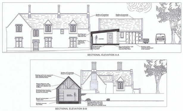 Extension and conversion of stables to Grade II Listed house in Camborne, Cornwall.