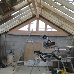 Installation of glazed gable to rear extension to Cornish cottage in St Ives.