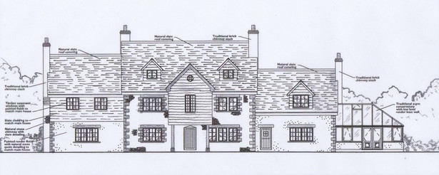 Approved plans for extension and conservatory to main house in Feock, Cornwall.