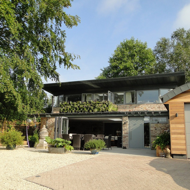 New eco retirement home and garage in conservation area of Wells, Somerset.