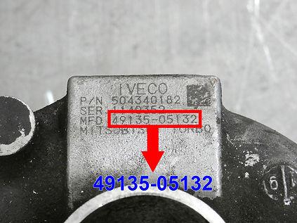 Mitsubishi MHI 49135-05132 turbo identification plate