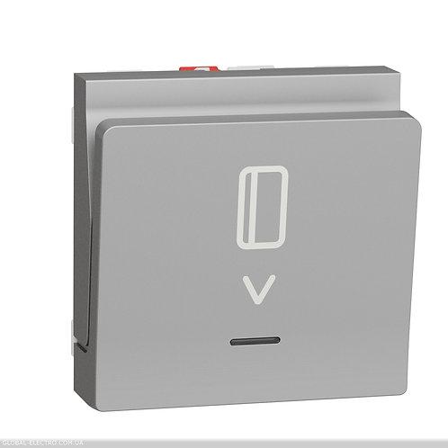 NU328330 Вимикач картковий з підсвіткою 10А, 2 модуля алюміній