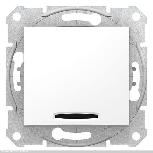SDN1600121 Кнопочный выключатель SEDNA С синей подсветкой БЕЛЫЙ