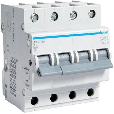 Автоматичний вимикач 4P 6kA C-6A 4M