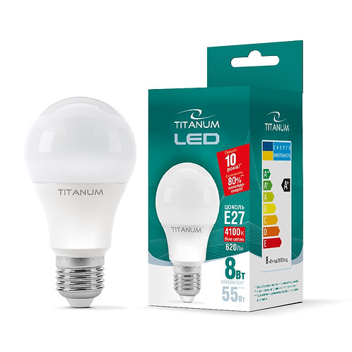 LED лампа TITANUM A60 8W E27 4100K 220V 50шт/ящ TLA6008274