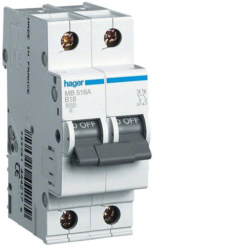 Автоматичний вимикач 1P+N 6kA B-16A 2M
