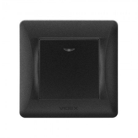 VIDEX BINERA Выключатель 1кл с подсветкой черный графит (VF-BNSW1L-BG) (20/120)