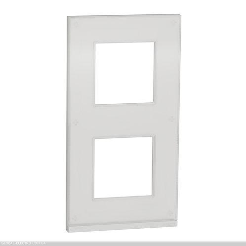 NU6004V85 2 постова рамка вертикальна Unica Pure біле скло