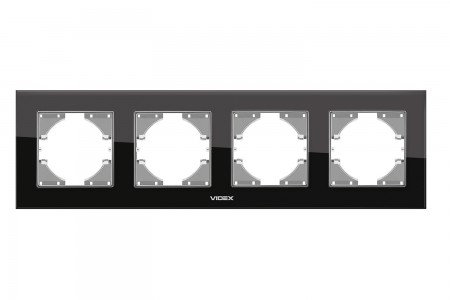 VIDEX BINERA Рамка черное стекло 4 поста горизонтальная (VF-BNFRG4H-B) (12/72)