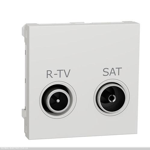 NU345618 Розетка R-TV SAT прохідна,  2 модуля біля