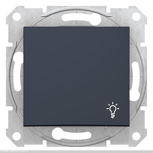 """SDN0900170 Кнопочный выключатель с символом """"СВЕТ"""" SEDNA ГРАФИТ"""