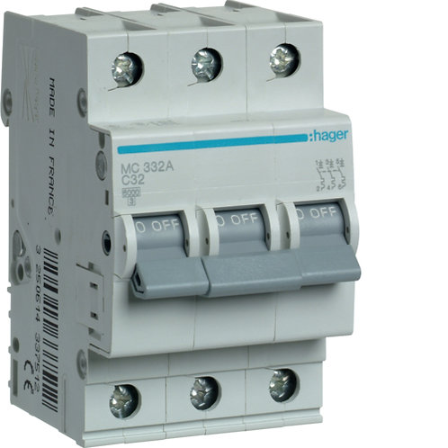 Автоматичний вимикач 3P 6kA C-32A 3M
