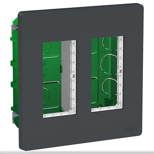 NU172454 Блок unica system+ прихована вставка 2х2 антрацит