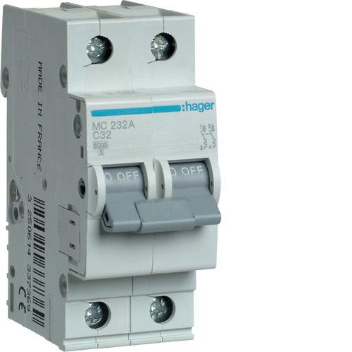 Автоматичний вимикач 2P 6kA C-32A 2M
