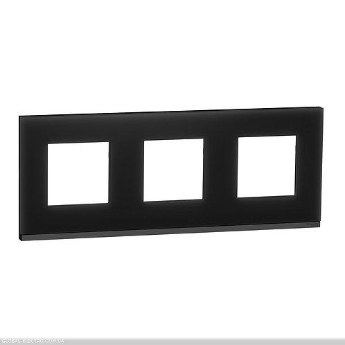 NU600686 Рамка 3-постова, горизонтальна, Чорне скло/антрацит
