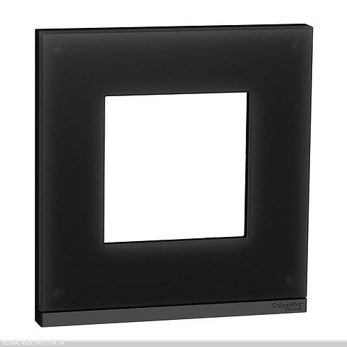 NU600286 Рамка 1-постова, горизонтальна, Чорне скло/антрацит