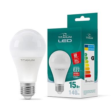 LED лампа TITANUM A65 15W E27 4100K 220V 50шт/ящ TLA6515274